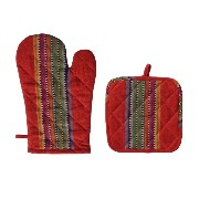 Cotton Craft - Oven Mitt and Pot Holder - Red Multi - 100% Cotton woven Stripe