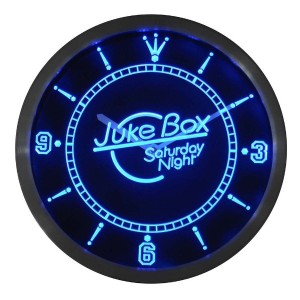 LEDネオンクロック 壁掛け時計 nc0307-b Juke Box Saturday Night Bar Pub Neon Sign LED Wall Clock