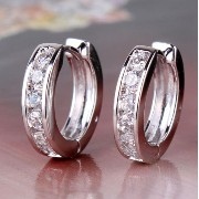 Aida Misa Charms Fashion 18k White Gold Filled Huggie Earing White Stones Hoop Earrings for Women...