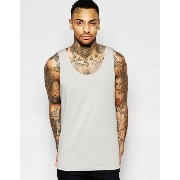 ASOS エイソス Relaxed Vest In Washed Grey