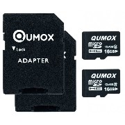 2pcs Pack QUMOX 16GB MICRO SD MEMORY CARD CLASS 10 16 GB HighSpeed