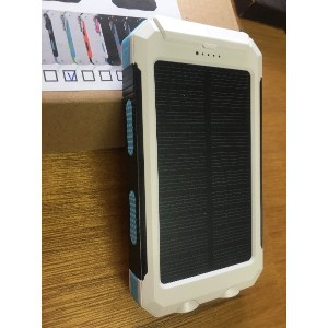 Waterproof solar power bank with Double LED (白・黒・水色) [並行輸入品]