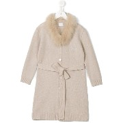 La Perla Kids fur collar coat