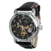 腕時計 KTC Mens Black Skeleton Dial Automatic Mechanical Black Leather Strap Wrist Watch ORK-012B ...