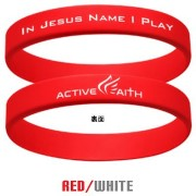 """Active Faith """"In Jesus Name I Play"""" シリコンバンド ブレスレット Red/White Sサイズ"""