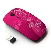 KOOLmouse [ ワイヤレスマウス 2.4Ghz 無線光学式マウス ] [ Dangling Silver Necklaces On Magenta Design ]