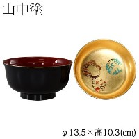 蓋付きお椀雑煮椀金箔松竹梅黒 (4T-516)Bowl with a lid, Gold leaf Shouchikubai, Japanese lacquerware
