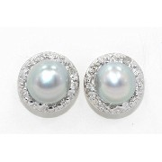 Natural Gray Freshwater Pearl & Diamond Round Stud Earrings 14Kt White Gold