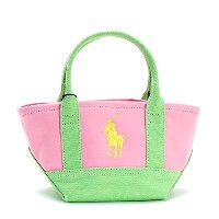 (ラルフ・ローレン) RALPH LAUREN SEASIDE MINI TOTE トートバッグ #950040 HARBOUR PINK/LIME/YELLOW 並行輸入品