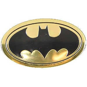 "DC Comics Originals, Batman Logo 6cm Emblem, Medium Die-Cut, 2.5"" x 1.25"" - Embossed METAL STICKER..."
