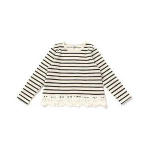【3can4on(Kids) (サンカンシオン)】ボーダー裾レースカットソーキッズ トップス カットソー・Tシャツ ピンク