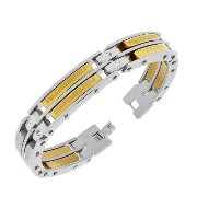 Stainless Steel Two-Tone Greek Key White CZ Link Men's Bracelet