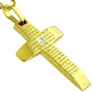 Stainless Steel CZ Yellow Gold-Tone Lords Our Father Prayer English Pendant Necklace