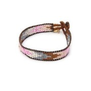 (AZUNI LONDON)DR/B6 NARROW LEATHER TRIM BEADED BRACELET【ローズバッド/ROSEBUD ブレスレット・バングル】