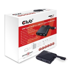 Club3D SenseVision USB Type-C to DP1.2 + USB3.0 + Type-C Charging Mini Dock 端子拡張 アダプタ (CSV-1537)