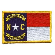 The NORTH CAROLINA Flag PATCH, Superior Quality Iron-On / Saw-On Embroidered Patch - Each one is...