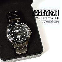 (ゼファレン)ZEPHYREN PAISLEY WATCH z16ux19 BLACK FREE