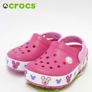 crocs クロックス crocslights Mickey clog kidsクロックスライツ ミッキー クロッグ キッズ203072 6x0 candy pink(ピンク)「靴」