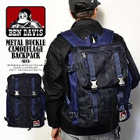 (ベンデイビス)BEN DAVIS公式 METAL BUCKLE CAMOUFLAGE BACKPACK -NAVY- FREE