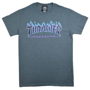 THRASHER T-SHIRT(スラッシャー)TシャツFLAME LOGO PURPLE PRINT ダークグレー,M
