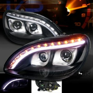 ベンツ ヘッドライト 98-06 Benz W220 S-Class Black DRL Strip LED Signal Projector Headlights 98から06ベンツW220...
