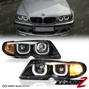 BMW ヘッドライト BMW E46 3-SERIES Sedan Euro Black 3D Style Halo Angel Eyes Projector Headlights BMW E46...