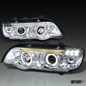 BMW ヘッドライト BMW E53 X5 HALO PROJECTOR HEADLIGHTS LAMPS LEFT+RIGHT CHROME BMW E53 X5 HALOプロジェクターヘッドライト...