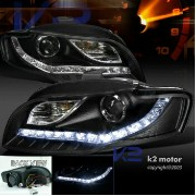 アウディ ヘッドライト For 06-08 Audi A4 LED Daytime Running Light DRL Black Projector Headlights 06-08アウディA4...