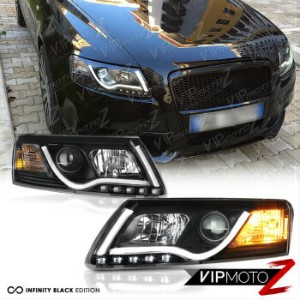 アウディ ヘッドライト 05-08 AUDI A6 Black Projector Headlight Lamp+LED SMD Daytime Driving Lamps Pair...