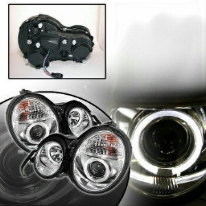 ベンツ ヘッドライト W210 96-99 M-BENZ W210 Euro Chrome Projector Dual Halo Headlight Lamp Set W210 96-99 M...