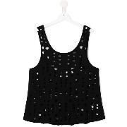 Une Fille perforated tank top