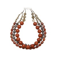 【Theory】Kong qi Color Stone Necklace 大きさや形の異なるストーンをデザインした三連ネックレス。 ブラウン 大人 セオリー