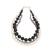 【Theory】Kong qi Color Stone Necklace 水晶や淡水パールを組み合わせた三連ネックレス。 その他 大人 セオリー