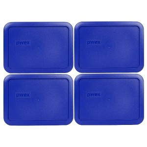 Pyrex 7210-PC Rectangle 3 Cup Storage Lid for Glass Dish (4, Cobalt Blue) by Pyrex