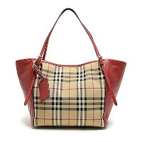 バーバリー BURBERRY 3939898 7050B HORSEFERRY CHECK SMALL CANTERBURY PANELS TOTE オープントート HONEY PARADE RED...
