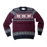 【期間限定30%OFF!】INVERALLAN(インバーアラン)/#113019 SHETLAND JACQUARD SNOW FLAKE CREWNECK SWEATER/new navy