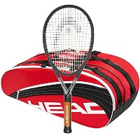 Head Ti.S6 STRUNG with 6 Racquet テニス Bag (Red Bag, 4-5/8) (海外取寄せ品)