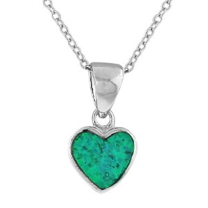 925 Sterling Silver Love Heart Blue Turquoise-Tone Simulated Opal Pendant Necklace