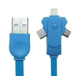 Achy JP USB充電ケーブル 3in1 Lightning Micro USBケーブル type-c Apple iPhone5/6/7/iPad対応 USB 2.1A急速充電 1m ブルー