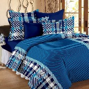 Cotton Double Bedsheet with 2 Pillow Covers - Blue Cotton Bedsheets For Double Bed