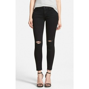 マザー レディース デニムパンツ ボトムス MOTHER 'The Looker' Frayed Ankle Skinny Jeans (Guilty As Sin) Guilty As Sin