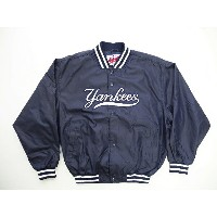 90's■Authentic majestic Diamond Collection MLB NYヤンキース ナイロンスタジャン(XL)