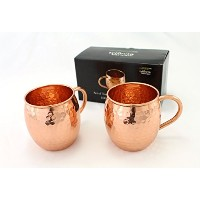 Set of Two 16 Oz Copper Mugs | 100% Pure Copper Handcrafted into the Perfect Hammered Barrel Style...