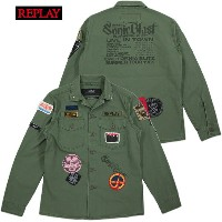REPLAY/リプレイM8825 FATIGUE SHIRTS WITH PATCHES ワッペン付きミリタリーシャツジャケット/ファティーグシャツ SAGE GREEN(セージグリーン)