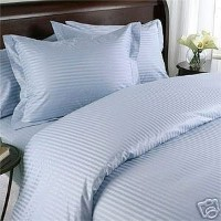 Stripes Blue 300 Thread Count Full Size (double bed) Duvet Cover Set 100 % Egyptian Cotton 3pc...