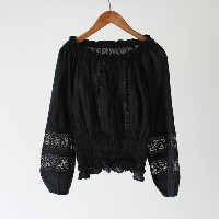 【ne Quittez pas ヌキテパ】 COTTON CUT WORK LACE LONG SLEEVE BLOUSE BLACKブラウス トップス 刺繍 レディース 女性