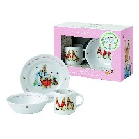 Wedgwood Girl's Peter Rabbit 3-Piece Plate, Bowl and Mug Set, White and Pink by Wedgwood