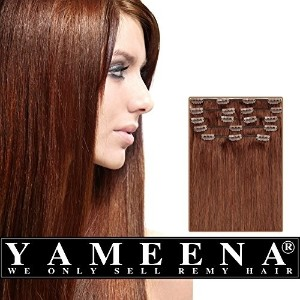 Yameena100% Remy Human Hair Extension Clip in Extensions 9 Pieces 16&quot -22&quot 8 Colors 120...