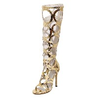 Gold Gladiator Sandals Cut-Out Terry Boots for Women