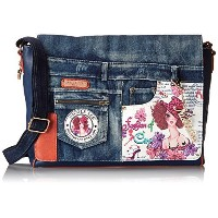 (Nicole Lee) Nicole Lee Wanda Denim Print Computer Messenger Bag